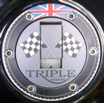 "TRIUMPH Petrol/Gas Cap. Aluminium Tank Decal: ""Triple Inside"""